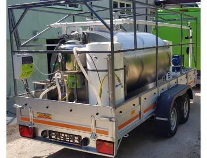Tentinė priekaba su 1500 L mobiliu pieno aušintuvu