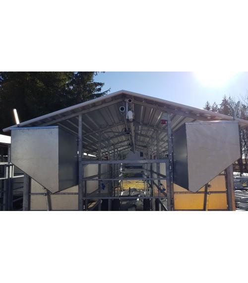 Mobili melžimo aikštelė MOTECH6 su pusiau automatine plovykla ir automatiniu pašarų dalintuvu