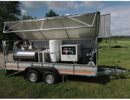 Mobili melžimo įranga su 500 l pieno aušintuvu